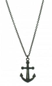 HAFEN-KLUNKER Halskette Anker 107991 Edelstahl schwarz schwarz