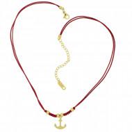 HAFEN-KLUNKER Choker Halskette Anker 108189 Textil Edelstahl Rot Gold