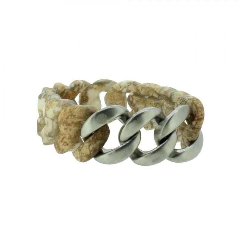 HANSE-KLUNKER ORIGINAL Damen Armband 107790 Edelstahl stone silber matt