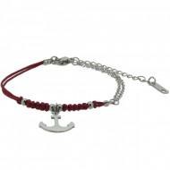 HAFEN-KLUNKER Anker Armband 108173 Textil Edelstahl Rot Silber