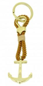 HAFEN-KLUNKER Sailor Collection Schlüsselanhänger Anker 108073 Textil Edelstahl camel gold