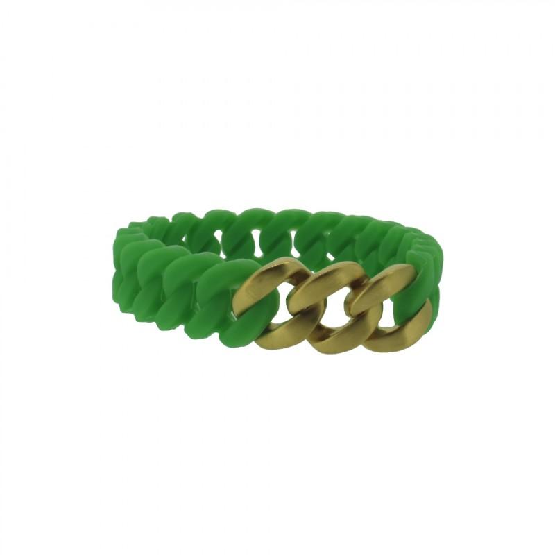 HANSE-KLUNKER MINI Damen Armband 107716 Edelstahl grün gold matt