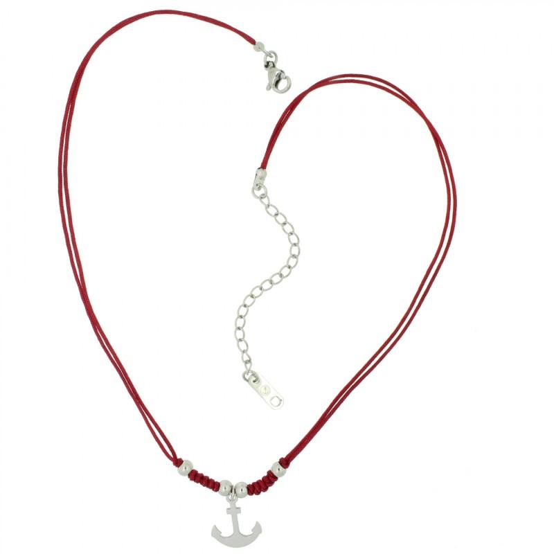 HAFEN-KLUNKER HARMONY Choker Halskette Anker 110425 Textil Edelstahl Rot Silber