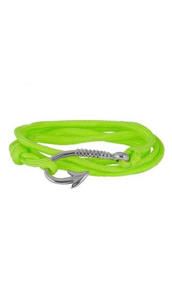 Armband Angelhaken Herren Damen In Silber & Neon-Grün Aus Edelstahl & Textil - Wickelarmband Nylonseil verstellbar