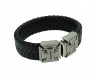 POLICE Herren Armband PJ24697BLB-01-L Leder schwarz