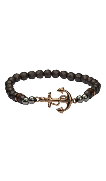 HAFEN-KLUNKER Anker Armband 107765 Edelstahl Hämatit grau rosegold