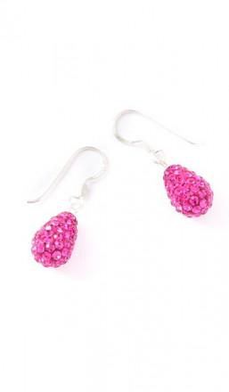 Crystal Line Ohrhänger TPOR109SW Tropfen Silber pink