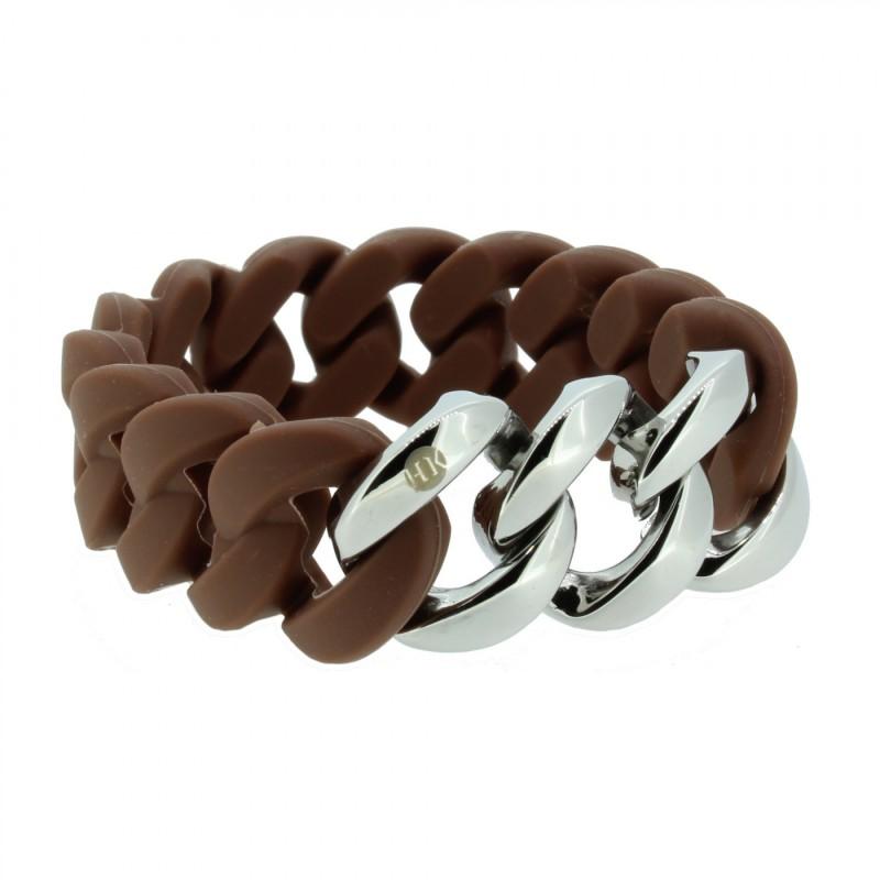 HANSE-KLUNKER ORIGINAL Damen Armband 107015 Edelstahl braun silber