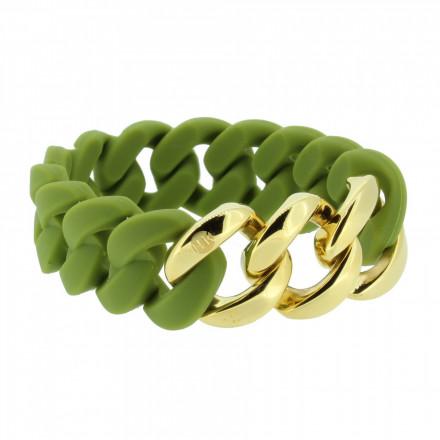 HANSE-KLUNKER ORIGINAL Damen Armband 107019 Edelstahl oliv gold