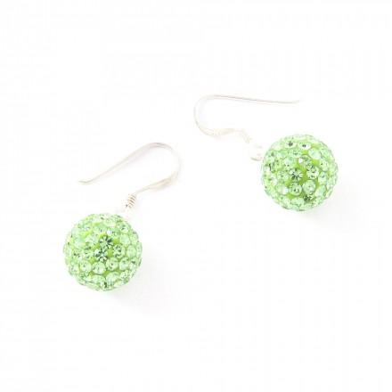 Crystal Line Ohrhänger TPOR108SW Kugel groß Silber grün