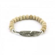 PEARL BAY Perlenarmband 107560 Feder Holz beige silber