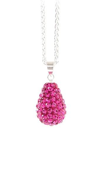Crystal Line Anhänger TPAH106SW Tropfen Silber pink