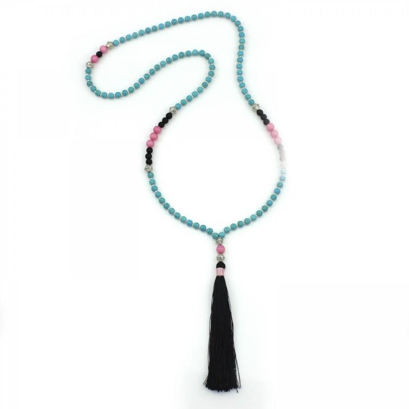 PEARL BAY Damen Perlenkette 107623 Quaste Jade Stein schwarz türkis rosa