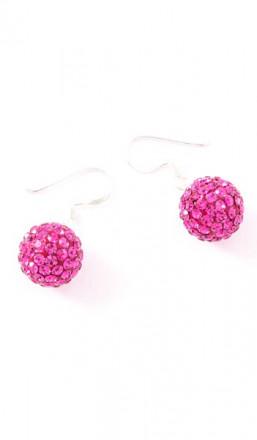 Crystal Line Ohrhänger TPOR108SW Kugel groß Silber pink