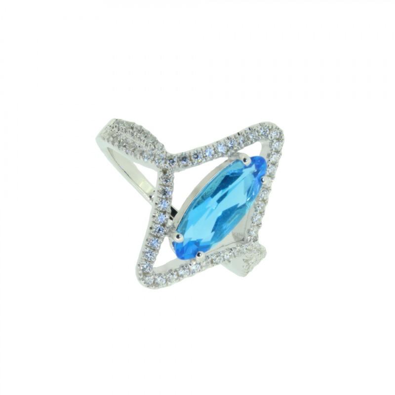 LOVELY SILVER Ring 107634 Silber 925 Zirkonia micro setting silber blau