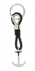 HAFEN-KLUNKER Sailor Collection Schlüsselanhänger Anker 108058 Leder Edelstahl schwarz silber