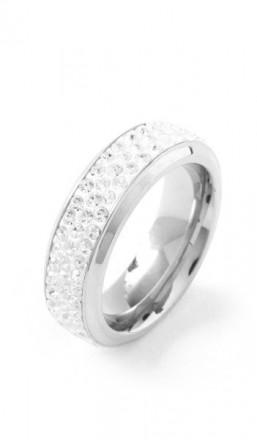 Grey Ring Crystal 100054 Edelstahl Kristall silber