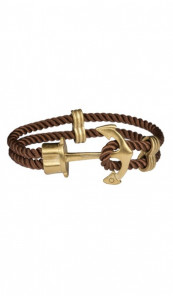 HAFEN-KLUNKER Anker Armband 107755 Edelstahl Textil braun gold matt