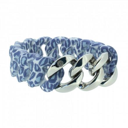 HANSE-KLUNKER ORIGINAL Damen Armband 107404 Edelstahl leopard jeans silber