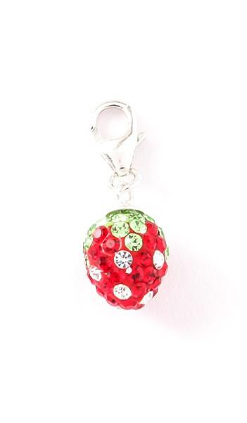 Crystal Line Charm TPCH103SW Erdbeere Silber rot grün