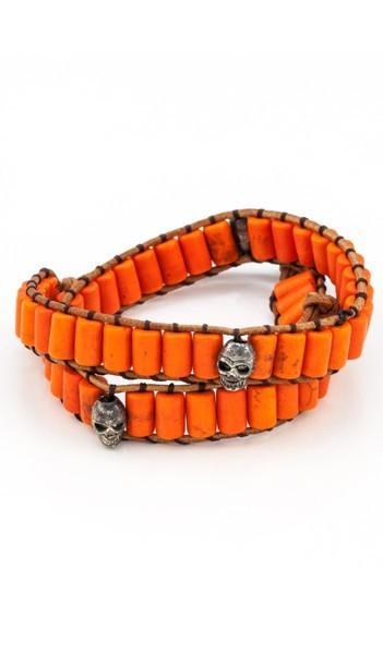 MARC SWAN Wickelarmband 106490 Totenkopf Leder orange