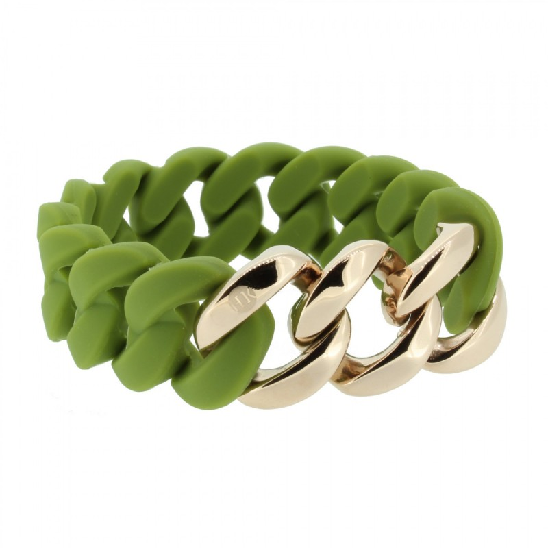 HANSE-KLUNKER ORIGINAL Damen Armband 107020 Edelstahl oliv rosegold