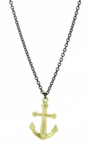 HAFEN-KLUNKER Halskette Anker 107992 Edelstahl schwarz gold matt