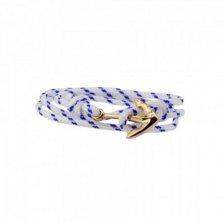 HAFEN-KLUNKER Wickelarmband Anker 107988 Edelstahl Textil weiss blau meliert rosegold