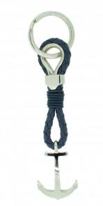 HAFEN-KLUNKER Sailor Collection Schlüsselanhänger Anker 108063 Leder Edelstahl blau silber