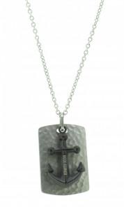 HAFEN-KLUNKER Halskette Anker Pendant 107989 Edelstahl schwarz silber