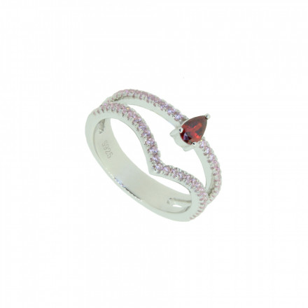 LOVELY SILVER Ring 107633 Silber 925 Zirkonia micro setting silber rot rosa