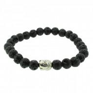 Silverart Buddha Armband 107842 FAB038 Lavastein schwarz Metal nickelfrei versilbert