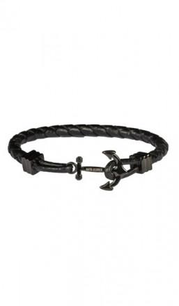 HAFEN-KLUNKER Anker Armband 107752 Edelstahl Leder schwarz schwarz