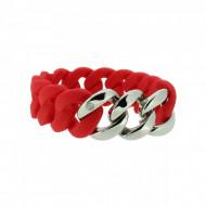 HANSE-KLUNKER ORIGINAL Damen Armband 107779 Edelstahl classic rot silber
