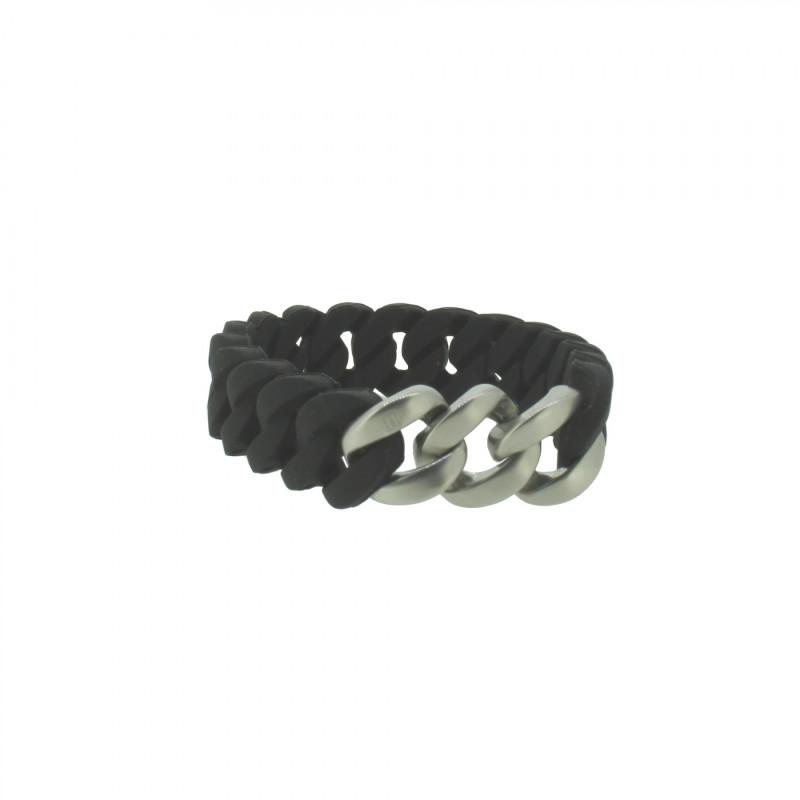 HANSE-KLUNKER MINI Damen Armband 108017 Edelstahl schwarz silber matt