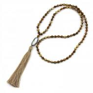 PEARL BAY Damen Perlenkette 107603 Quaste Muschel Strass Stein Kristall braun beige