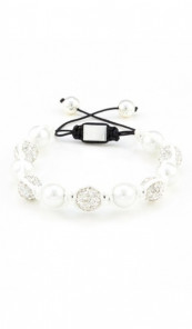 MARC SWAN Armband Shamballa Style 106439 Perle silber weiss