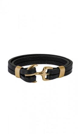 HAFEN-KLUNKER Anker Armband 107688 Edelstahl Leder schwarz gold