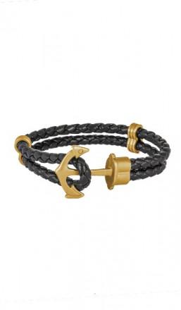 HAFEN-KLUNKER Anker Armband 107691 Edelstahl Leder schwarz gold matt