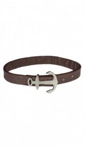 HAFEN-KLUNKER MINI Anker Armband 107762 Edelstahl Leder braun silber matt