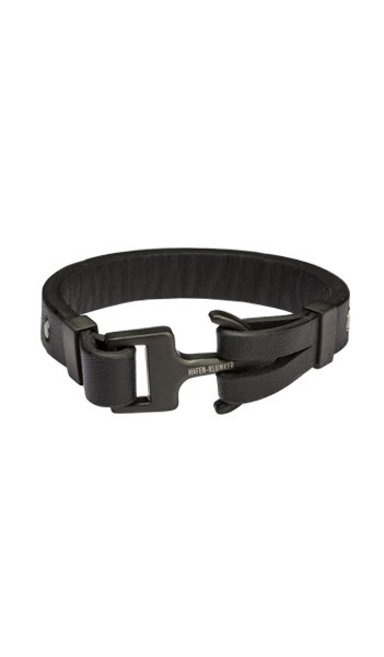HAFEN-KLUNKER Anker Armband 107749 Edelstahl Leder schwarz schwarz matt