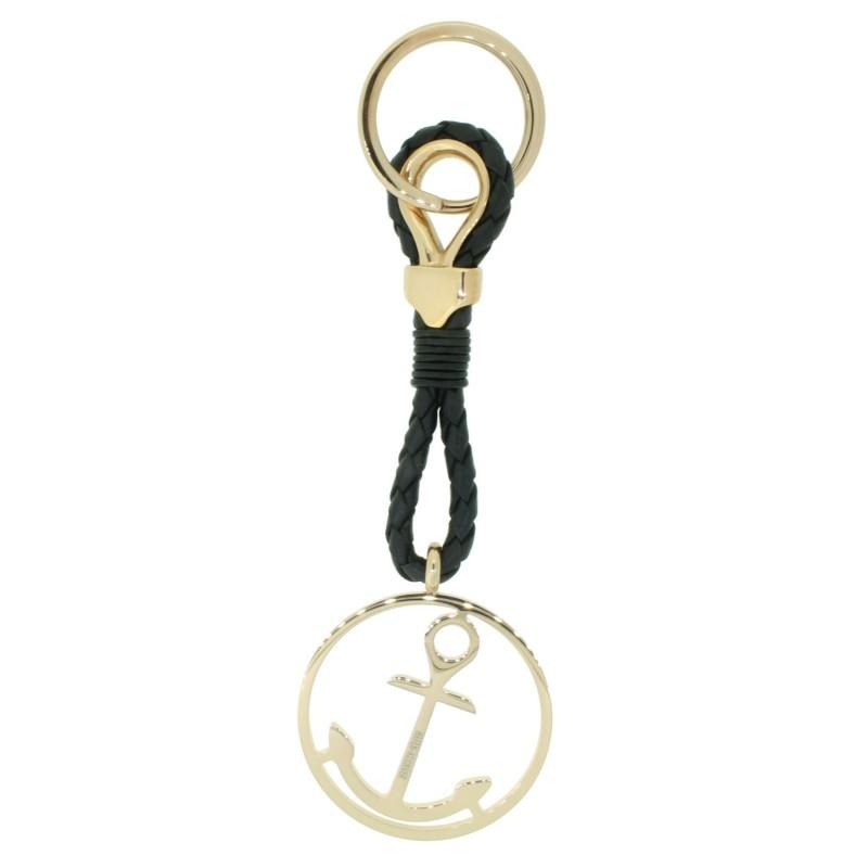 HAFEN-KLUNKER Sailor Collection Schlüsselanhänger rund mit Anker 110568 Leder Edelstahl schwarz rosegold
