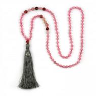 PEARL BAY Damen Perlenkette 107616 Quaste Peace Stein grau rosa