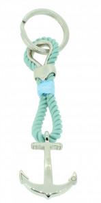 HAFEN-KLUNKER Sailor Collection Schlüsselanhänger Anker 108074 Textil Edelstahl hellblau silber