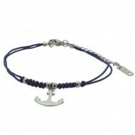 HAFEN-KLUNKER Anker Armband 108176 Textil Edelstahl Blau Silber
