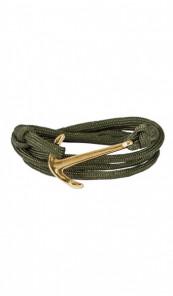 HAFEN-KLUNKER Wickelarmband Anker 107671 Edelstahl Textil khaki gold