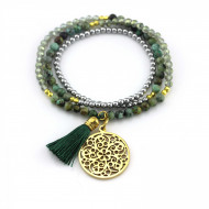 PEARL BAY Wickelarmband Perlen 107556 Quaste Amulett Edelstahl Quarz grün