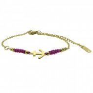 HAFEN-KLUNKER Anker Armband 108180 Textil Edelstahl Fuchsia Gold