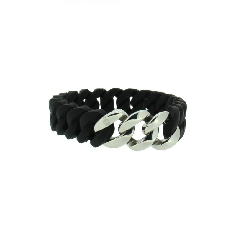 HANSE-KLUNKER MINI Damen Armband 107720 Edelstahl schwarz silber
