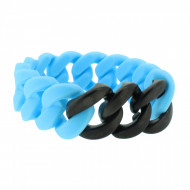 HANSE-KLUNKER ORIGINAL Damen Armband 107413 Edelstahl hellblau schwarz matt